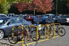 There is adequate bike parking in front of the church.