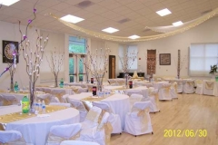 Hanneman Hall decorated for a wedding