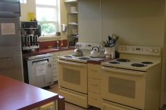 UUCS Kitchen, set up for serving large parties