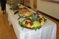 Buffet set up in Hanneman Hall