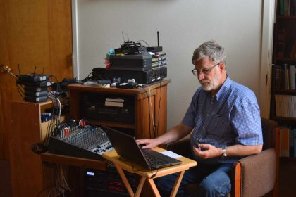 John Prohodsky at sound board
