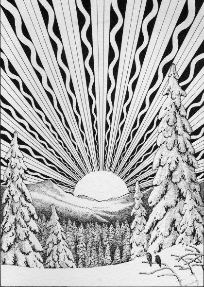 Black and white winter snowy scene showing trees, mountains and the sun setting behind with rays from it. Downloaded from pixabay 2016-12-8
