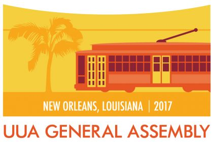 Street car and palm tree- Logo for the UUA General Assembly, New Oreleans, Louisiana 2017