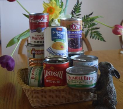 Canned food-rabbit figurine-flowers 2017-3-31 cropped