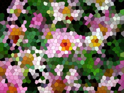 Mosaic image of pinkish flowers on a green background 2017-3-14