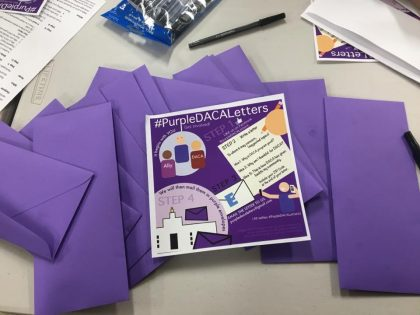 Purple envelopes and DACA flyer