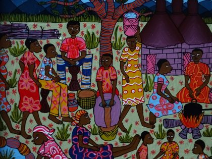 Village scene Zimbabwe folk art 2017-09-02