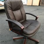 Item 98 - Leather and Cherry Desk Chair