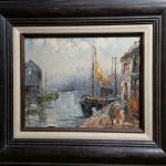 Item 82 - Boat in Dock Framed Painting