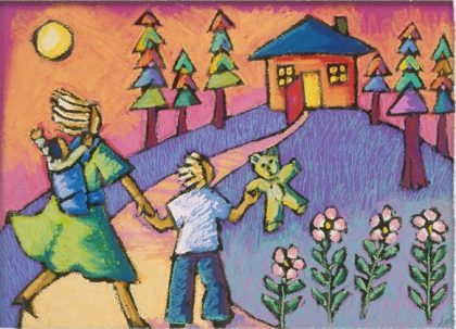 Painting of woman and child and teddy bear approaching a colorful house on a hill with wide open door 2017-12-15