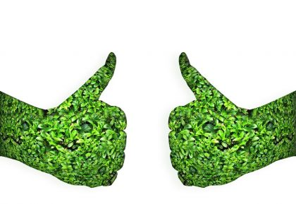 two green thumbs up, hands made up of green leaves.