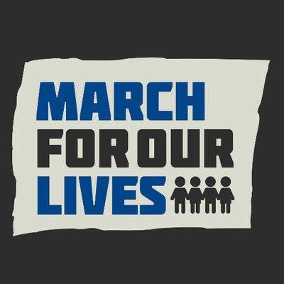 March for our lives, with small figures holding hands, design in blue and black 2018-03-02